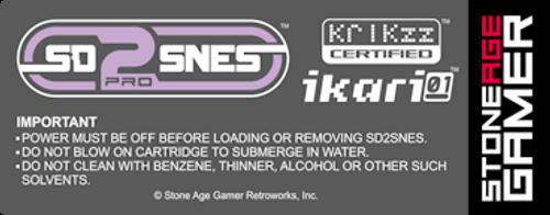 SD2SNES Pro Back Label (North American)