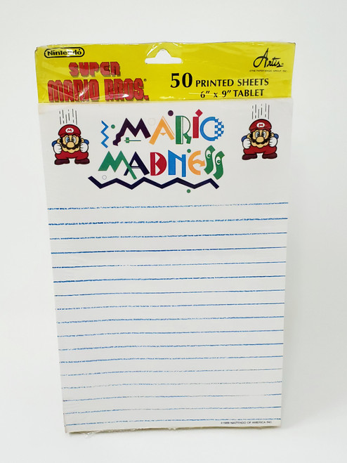 Vintage Mario Madness Notepad Factory Sealed
