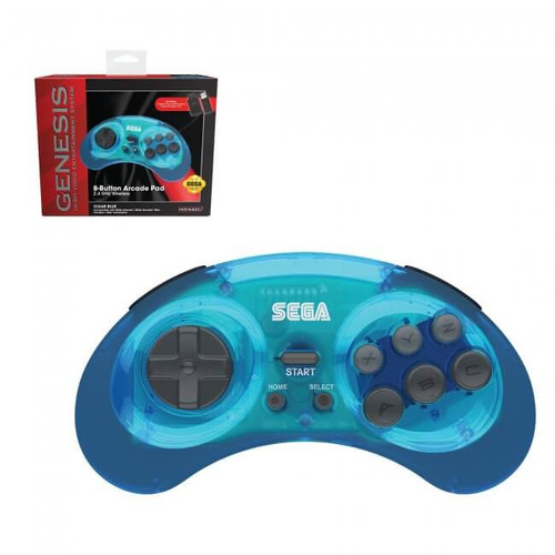 SEGA Genesis 8-Button Arcade Pad Clear Blue Wireless 2.4 GHz - Officially Licensed