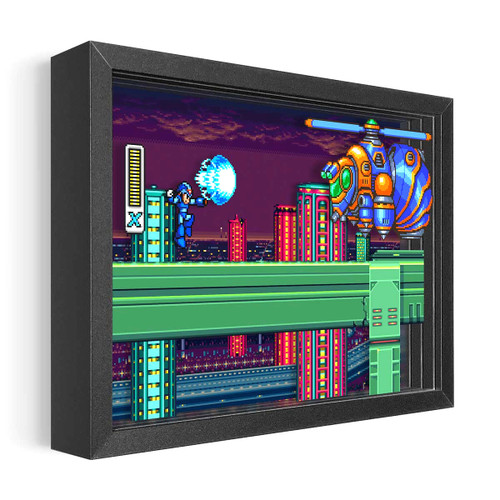 Artovision - Mega Man X vs Bee Blader Shadowbox Art