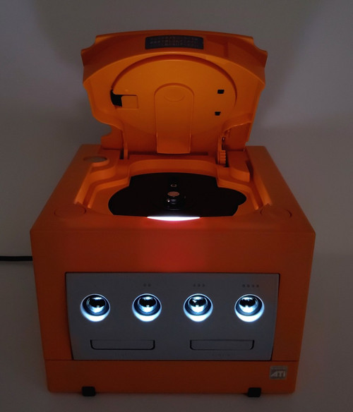 Spice Orange GameCube Console - HDMI Modded - Xeno Backup/Region Mod  - White LED upgrades