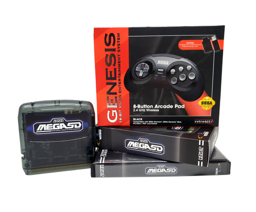 MegaSD + Case + 2.4Ghz Official Wireless Controller Bundle