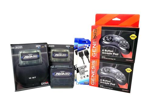 MegaSD + Case + 2 Official Controllers + 2 Controller Extensions Bundle