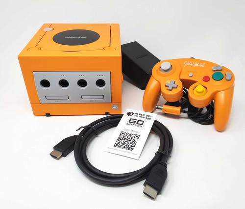 Spice Orange LED GameCube GC Loader Console Bundle - HDMI Modified - DOL-024