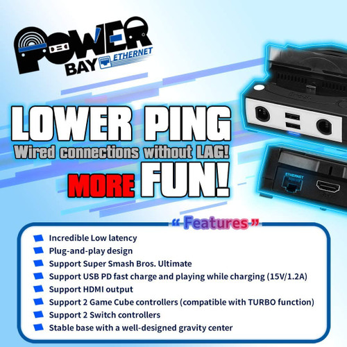 Brook Power Bay Ethernet Portable Docking Station for NIntendo Switch w GameCube Controller Support