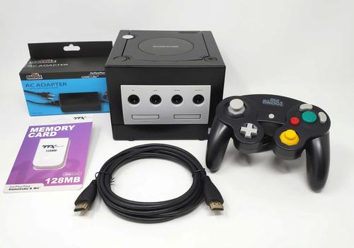 Black Nintendo GameCube GC Loader Console Bundle - HDMI Modified - DOL-041