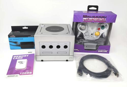 Silver Nintendo GameCube GC Loader Console Bundle - Digital Modified Blue LED's - DOL-046