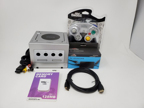 Silver Nintendo GameCube GC Loader Console Bundle - Digital Modified Red LED's - DOL-047