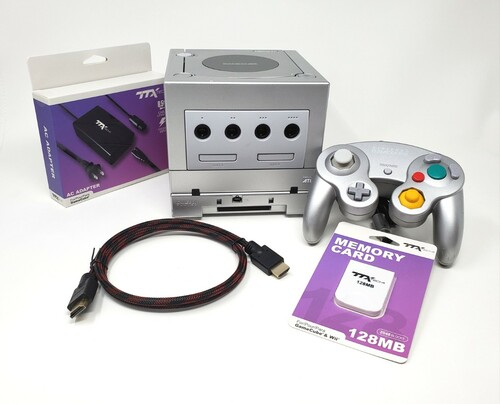 Silver Nintendo GameCube GC Loader Console Bundle - HD Modified - DOL064