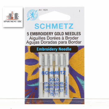Schmetz Embroidery Gold Needles Size 75/11 #1824
