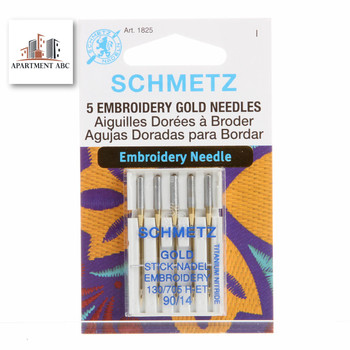 Schmetz Embroidery Gold Needles Size 90/14 #1825