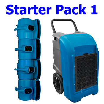 Water Damage Restoration Bundle Pack - 1 Dehumidifier, 4 Air Movers