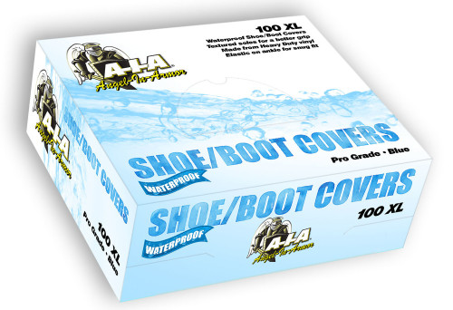 Box of 100 XXL Waterproof Boot Shoe Covers (50 Pairs) - Blue Booties