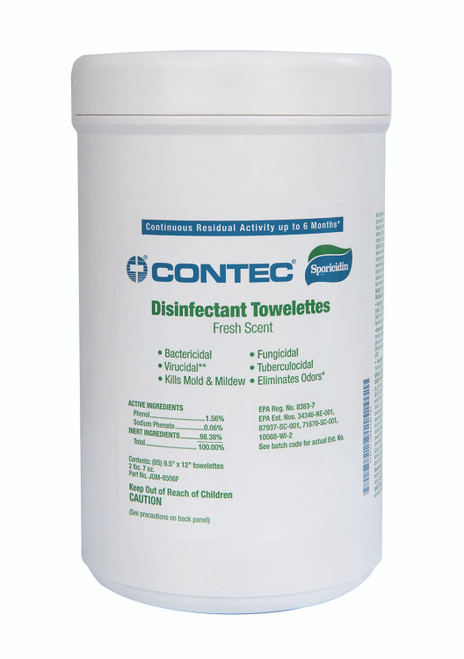 """5"""" x 8"""" Contec Disinfectant Towelette Wipes, 180 count, Fresh Scent"""