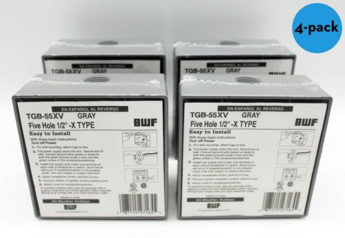 LOT of 4 | Teddico BWF TGB-55XV Threaded 1/2 5HL 2 Gang SE OUTLET BOX, Gray