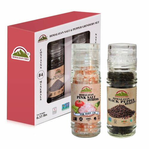 Himalayan Chef Pink Salt and Black Pepper Grinder Set (5.3 Ounce)
