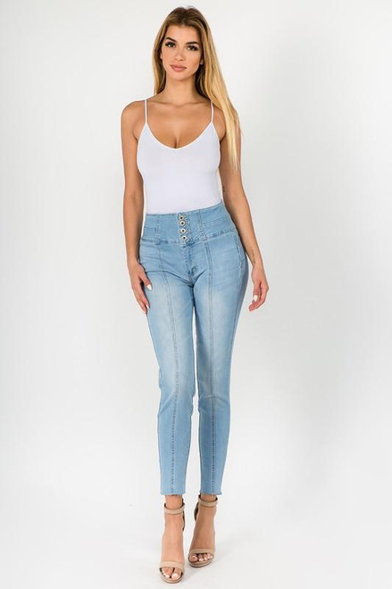 Button High Rise Skinny Jeans