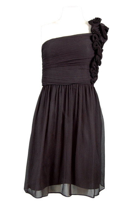 Ellen Tracy One Shoulder Ruched Chiffon Dress with Rosettes