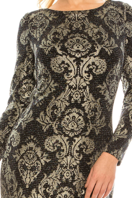 Jessica Howard Silver Combo Metallic Damask Printed Fitted Dress