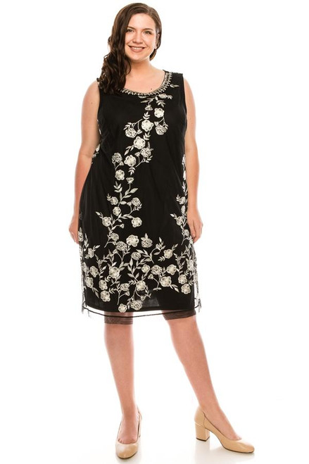 SD Collection Black Ivory  Allover Floral Embroidered Shift Dress