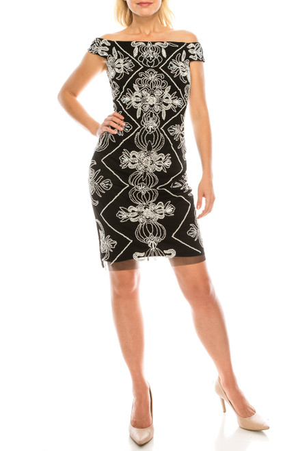 Adrianna Papell Black White Beaded Off-the-Shoulder Short Evening