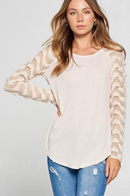 Thermal Fishnet Lace Contrast Top