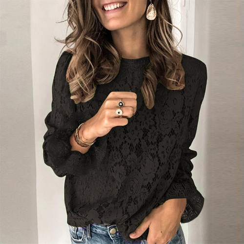 Women's Long Bell Sleeve Sheer Floral Lace Blouse Tops