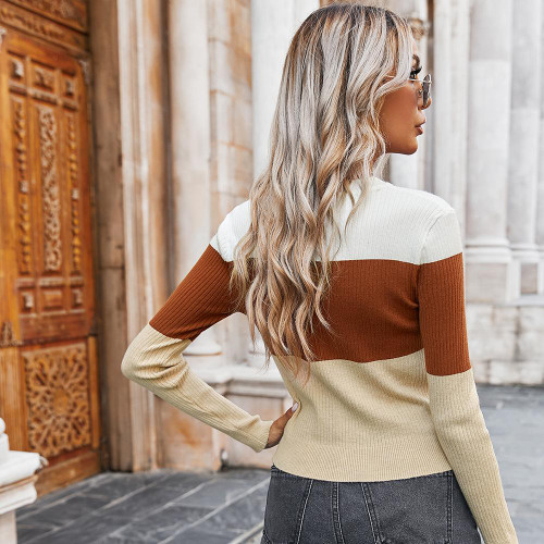Autumn Winter Ladies Fashion Patchwork Color Slim Knitted Sweater
