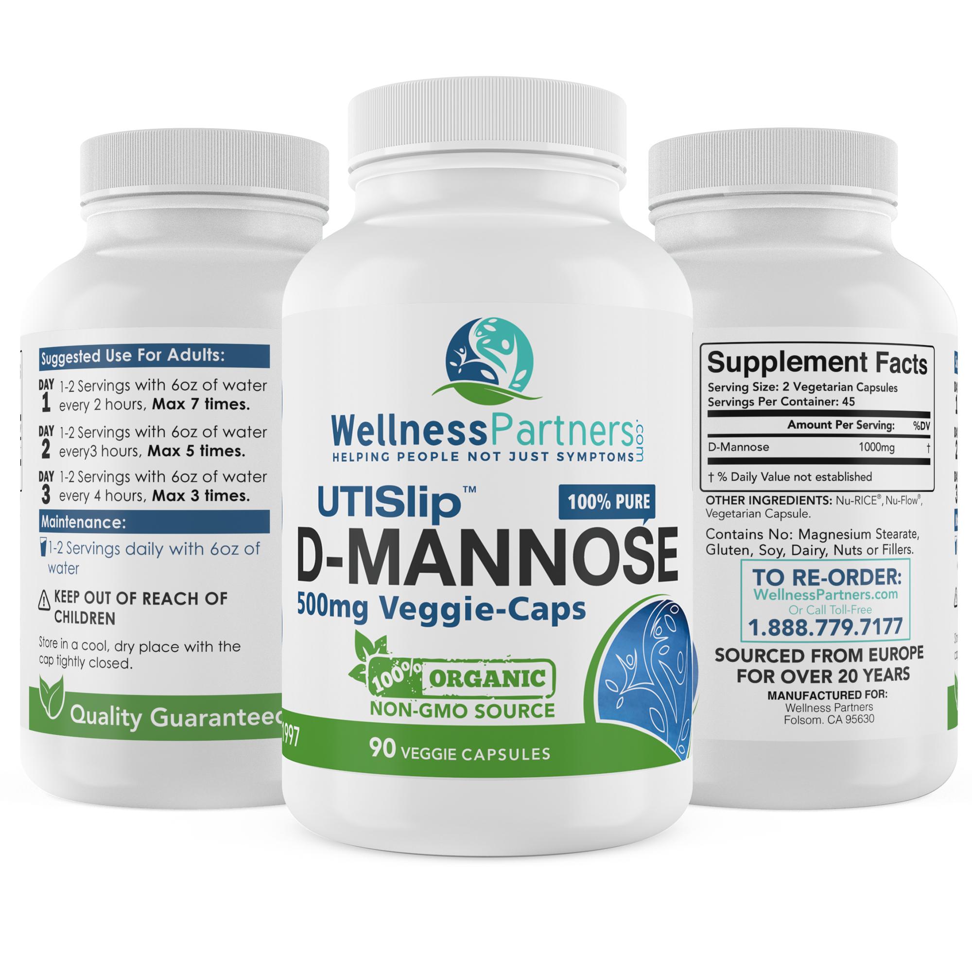 UTI Slip D-Mannose Veggie Capsules 90 Count (500 MG)
