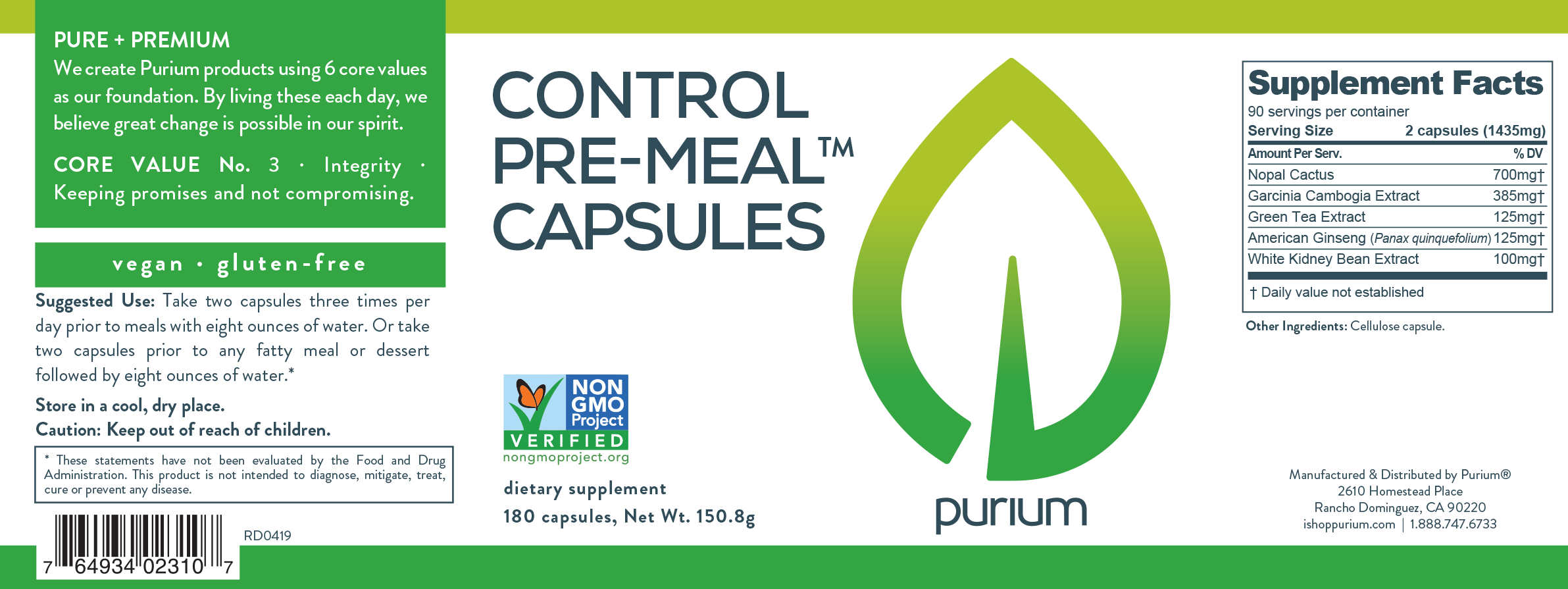 Purium Control Pre-Meal Capsules - Less than on Amazon