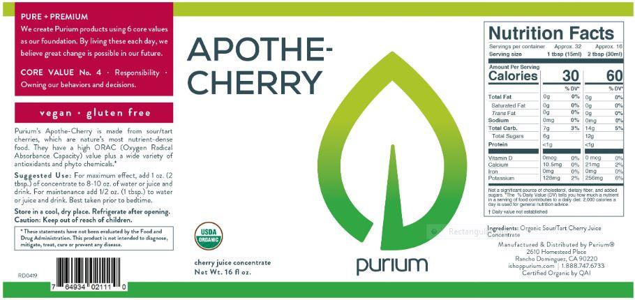 Purium Apothe-Cherry 16oz - Less than on Amazon $1.81/FL OZ
