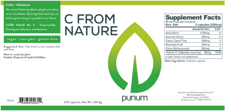 Purium C From Nature 270ct bottle