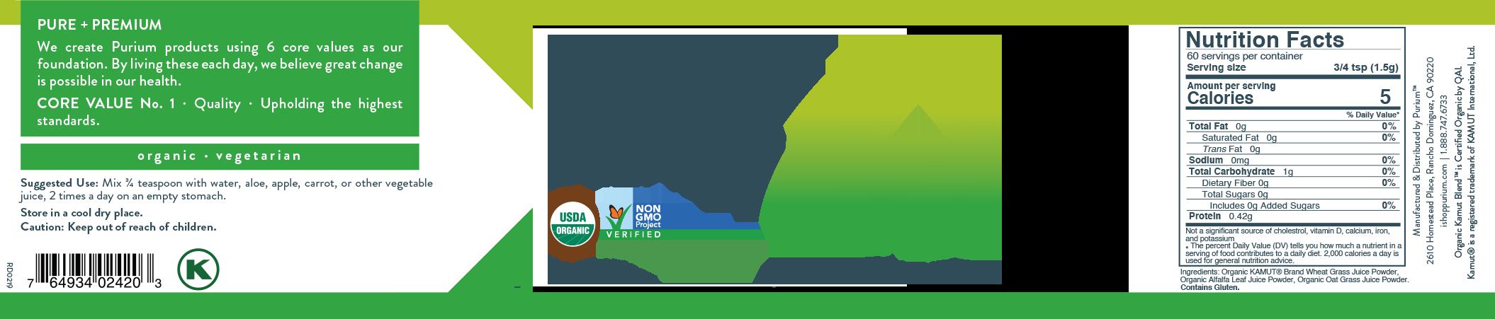 Purium Kamut Blend 60 servings 90 gm