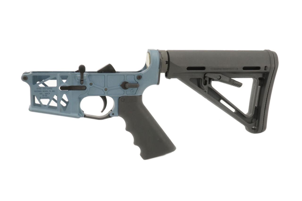 Grid Defense Complete Rifle Skeletonized Lower Receiver - Blue Titanium