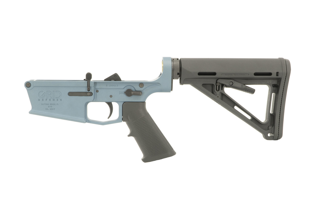 Grid Defense AR10 Complete Rifle Lower Receiver - Blue Titanium