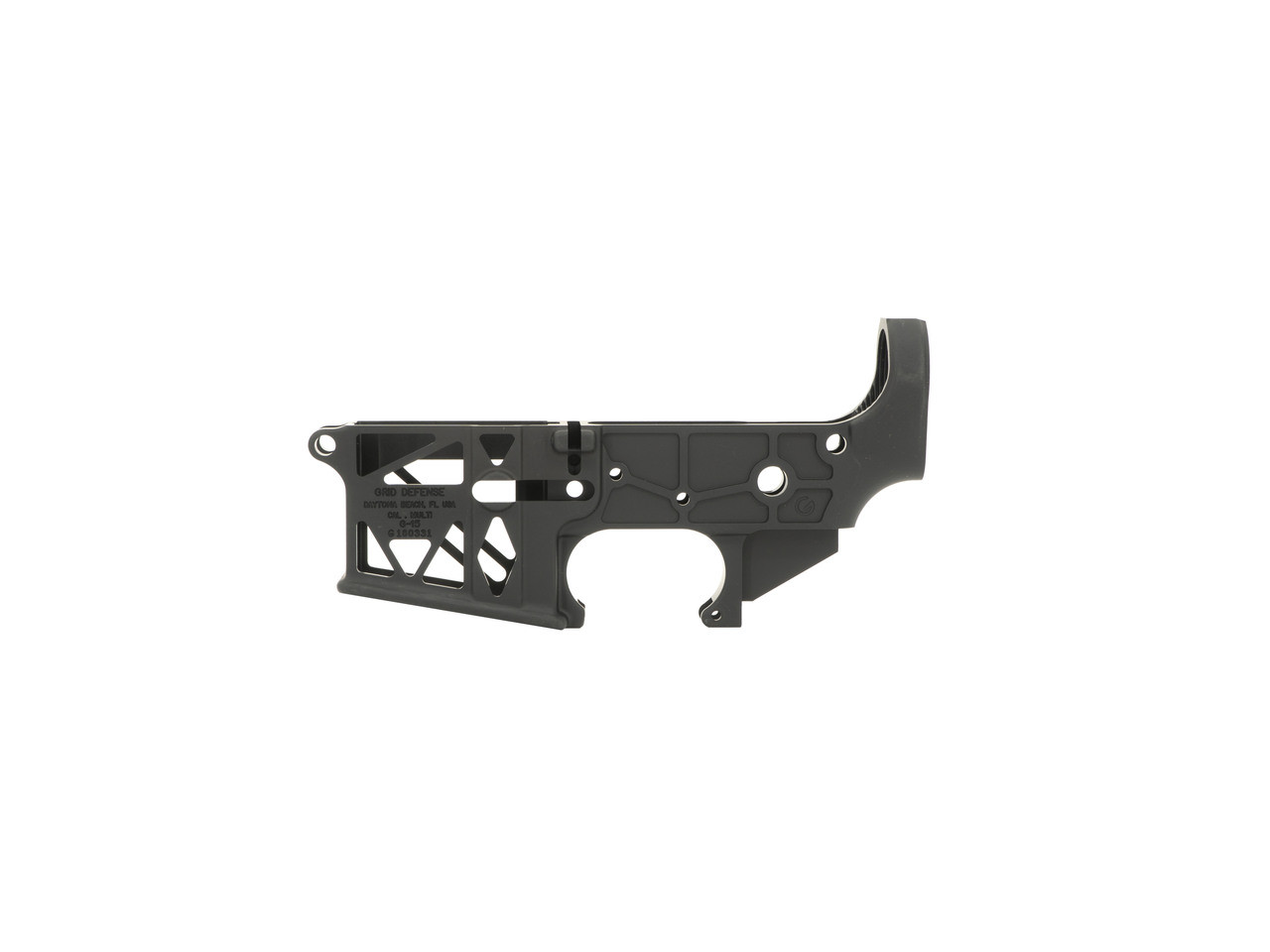 Grid Defense AR15 Stripped Skeletonized Lower Receiver - Black Anodized