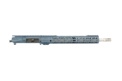 """Grid Defense AR 15 16"""" 556 Stainless Steel Upper Receiver in Blue Titanium Cerakote."""