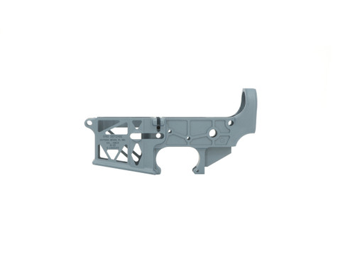 Grid Defense Stripped AR-15 Skeleton Lower Receiver in Blue Titanium - Made in the USA