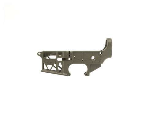 Mil-Spec OD Green Skeletonized AR-15 Lower Receiver - Grid Defense Made in the USA