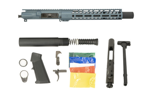 "Blue Titanium 10.5"" 5.56 Flash Can Upper Complete Pistol Build Kit - Ghost Firearms"