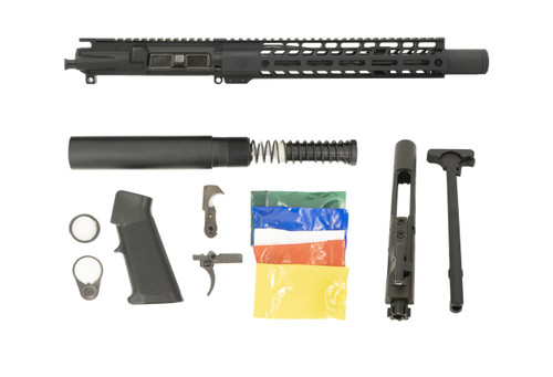 "Black Anodized 10.5"" .300 Blackout with 12"" MLOK Rail and Dimpled Flash Can Pistol Build Kit"