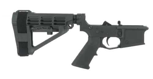 GRID DEFENSE COMPLETE PISTOL LOWER RECEIVER WITH SBA4 PISTOL BRACE - BLACK ANODIZED