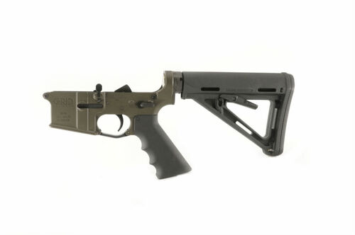 Grid Defense AR15 Complete Rifle Lower Receiver finished in OD Green cerakote.