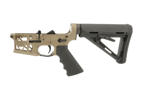 Grid Defense Mil Spec AR15 Skeleton Complete Rifle Lower Receiver in Magpul Flat Dark Earth.