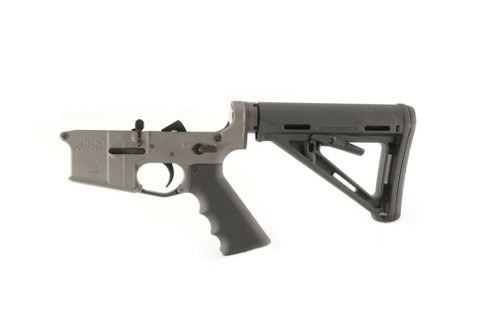 Grid Defense AR15 Mil Spec Complete Rifle Lower Receiver finished in Tungsten Gray cerakote.
