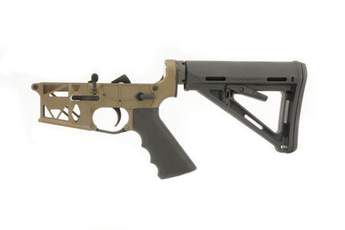 Grid Defense Mil-Spec Skeletonized AR-15 Burnt Bronze Cerakoted Lower Receiver.