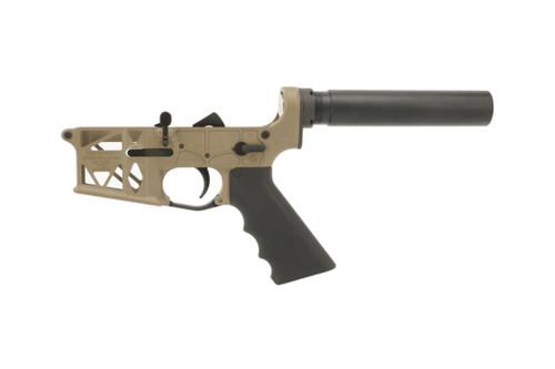 AR 15 Magpul FDE Grid Defense Skeleton Pistol Lower