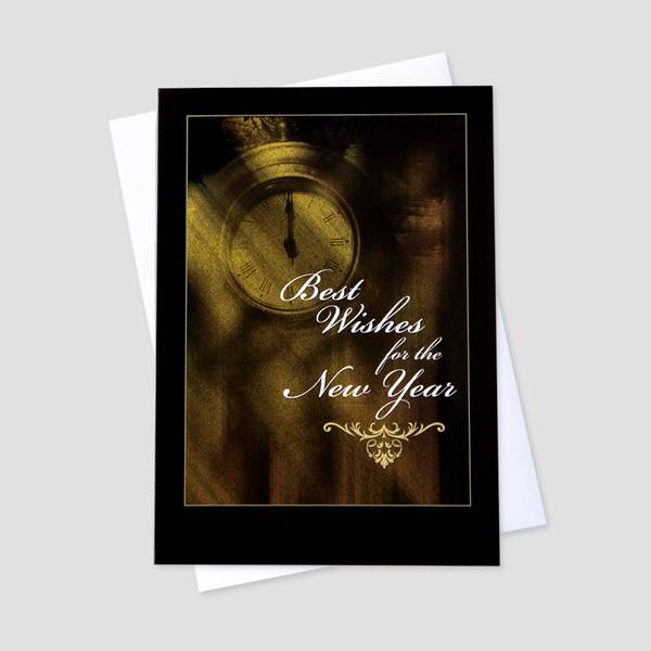 business new year greeting card with an old clock and new year message surrounded by a