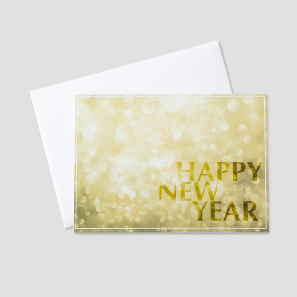customer new year greeting card with a new year message against a bright golden light