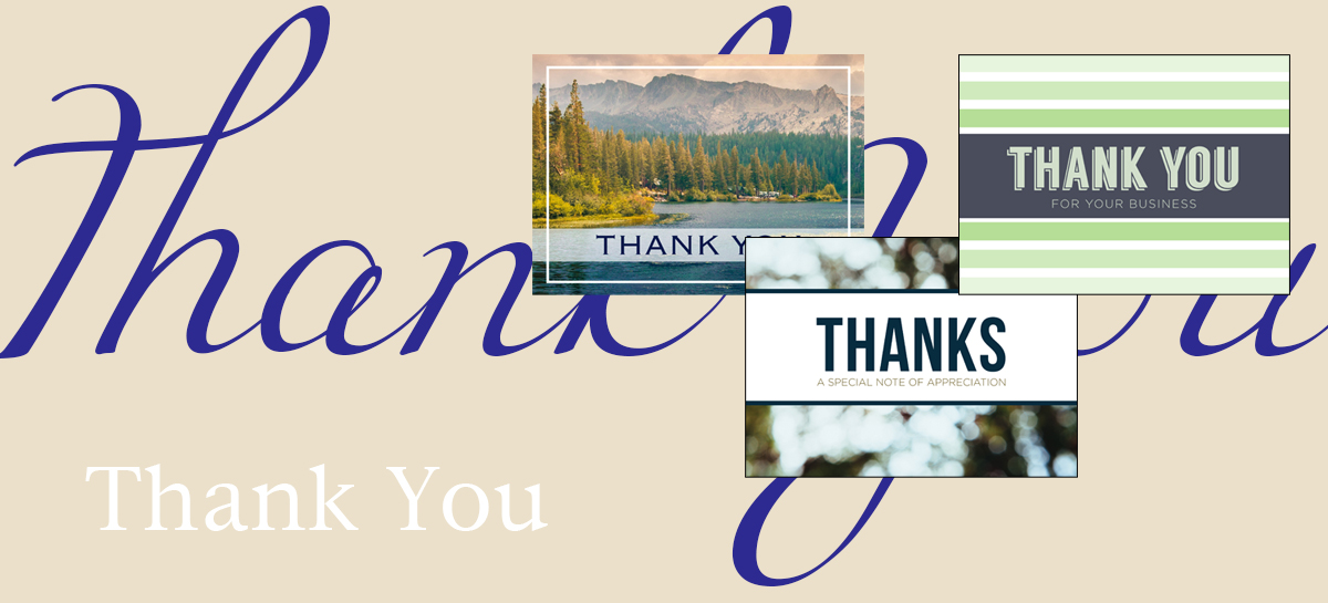 Thank you banner featuring three best-selling greeting cards